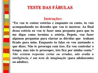 TESTE DAS FÁBULAS