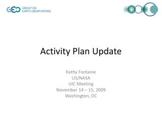Activity Plan Update