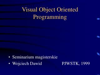 Visual Object Oriented Programming