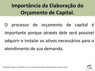 Importância da Elaboração do Orçamento de Capital.