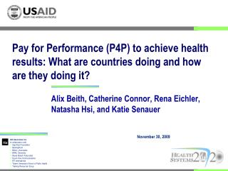 Pay for Performance P4P to achieve health results: What are countries doing and how are they doing it