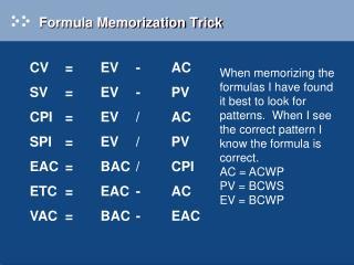 Formula Memorization Trick