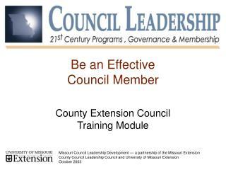 Be an Effective Council Member