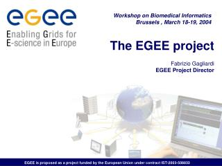 The EGEE project Fabrizio Gagliardi EGEE Project Director