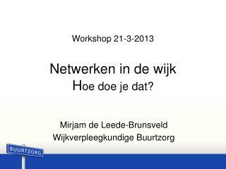 Workshop 21-3-2013 Netwerken in de wijk H oe doe je dat?