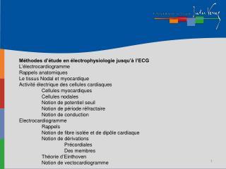 Méthodes d'étude en électrophysiologie jusqu'à l'ECG L'électrocardiogramme  Rappels anatomiques