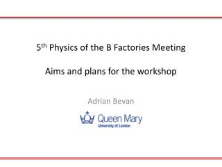 5 th  Physics of the B Factories Meeting Aims and plans for the workshop