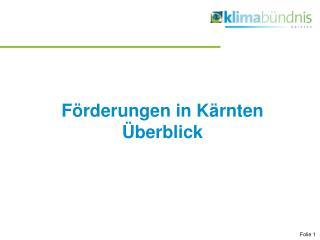Förderungen in Kärnten   Überblick