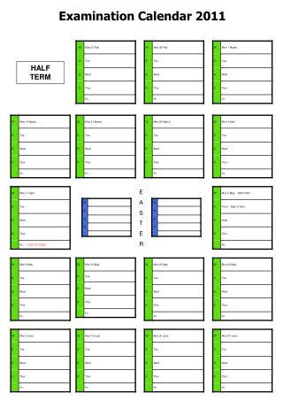 Examination Calendar 2011