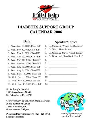 DIABETES SUPPORT GROUP CALENDAR 2006