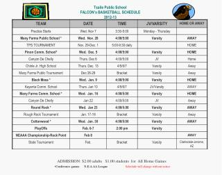 Tsaile Public School FALCON's BASKETBALL SCHEDULE  2012-13