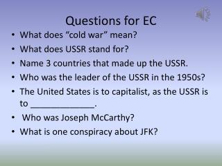 Questions for EC