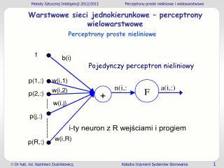 Warstwowe sieci jednokierunkowe  � perceptrony wielowarstwowe