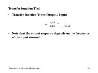 Transfer function T(w)