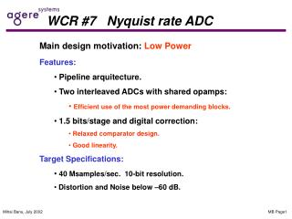 WCR #7   Nyquist rate ADC