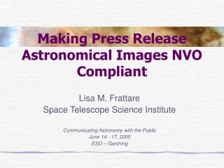 Making Press Release Astronomical Images NVO Compliant