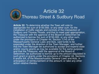 Article 32 Thoreau Street & Sudbury Road