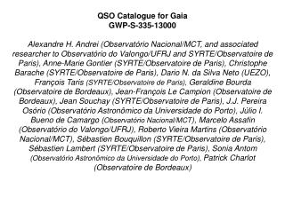 QSO Catalogue for Gaia GWP-S-335-13000