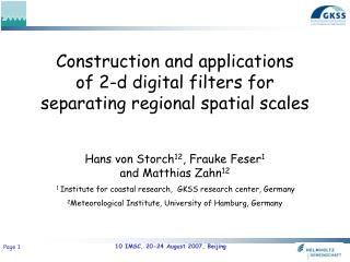 Construction and applications  of 2-d digital filters for separating regional spatial scales