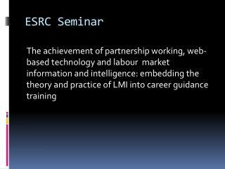 ESRC Seminar