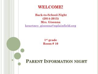 Parent Information night