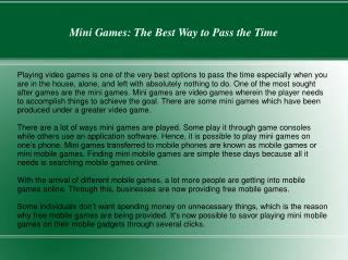 Mini Games: The Best Way to Pass the Time