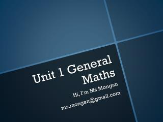 Unit 1 General Maths