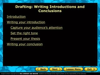 Drafting: Writing Introductions and Conclusions