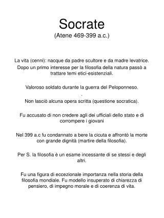 Socrate  Atene 469-399 a.c.