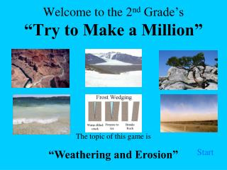 """Welcome to the 2 nd  Grade's """"Try to Make a Million"""""""