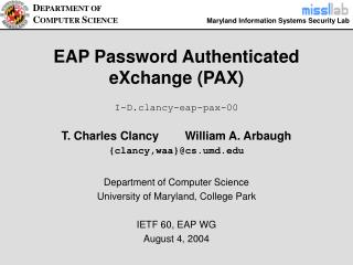 EAP Password Authenticated  eXchange (PAX)