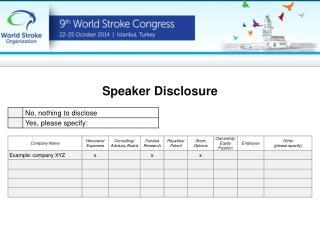 Speaker  Disclosure