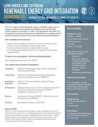 Event  Details October  31, 2014 8:00AM – 9:30AM World Trade Center Denver 625 Broadway St.