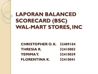 LAPORAN BALANCED SCORECARD (BSC) WAL-MART STORES, INC