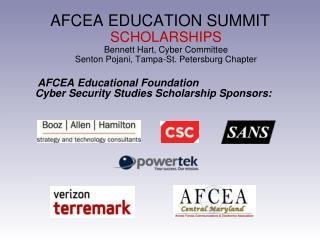 AFCEA Educational Foundation Cyber Security Studies Scholarship Sponsors: