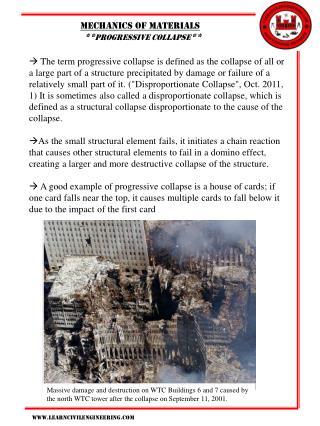 Mechanics of materials   ** progressive collapse **