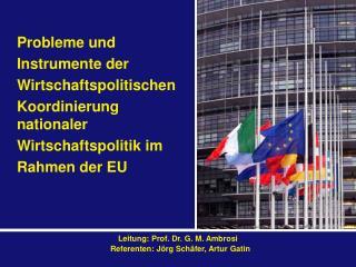 Probleme und  Instrumente der Wirtschaftspolitischen Koordinierung nationaler