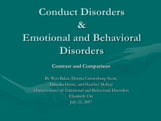 Conduct Disorders & Emotional and Behavioral Disorders
