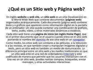 ¿Qué es un Sitio web y Página web?