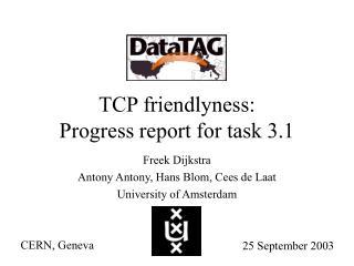 TCP friendlyness: Progress report for task 3.1