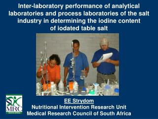 EE Strydom Nutritional Intervention Research Unit Medical Research Council of South Africa