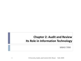 Chapter 2: Audit and Review Its Role in Information Technology