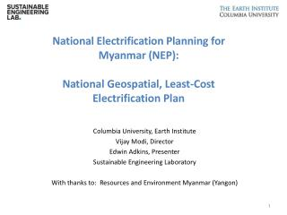 National Electrification Planning for  Myanmar (NEP):