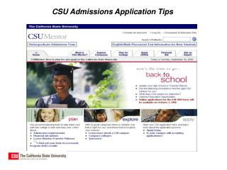CSU Admissions Application Tips