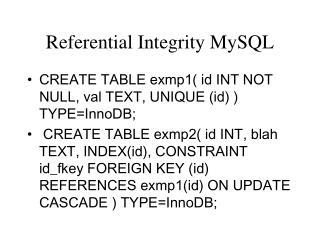 Referential Integrity MySQL