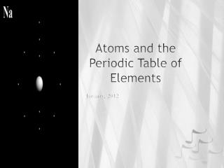 Atoms and the Periodic Table of Elements