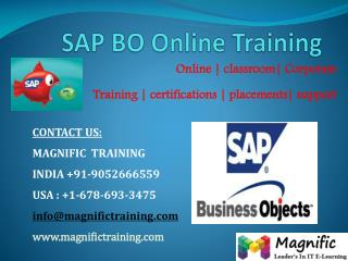 SAP BO ONLINE TRAINING IN INDIA