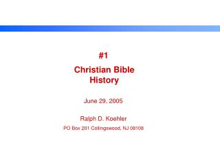 Christian Bible History