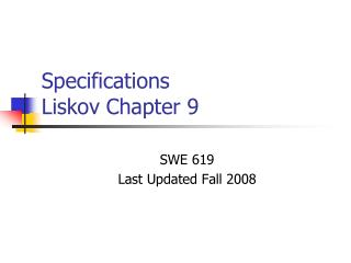 Specifications Liskov Chapter 9