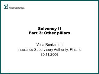 Solvency II Part 3: Other pillars